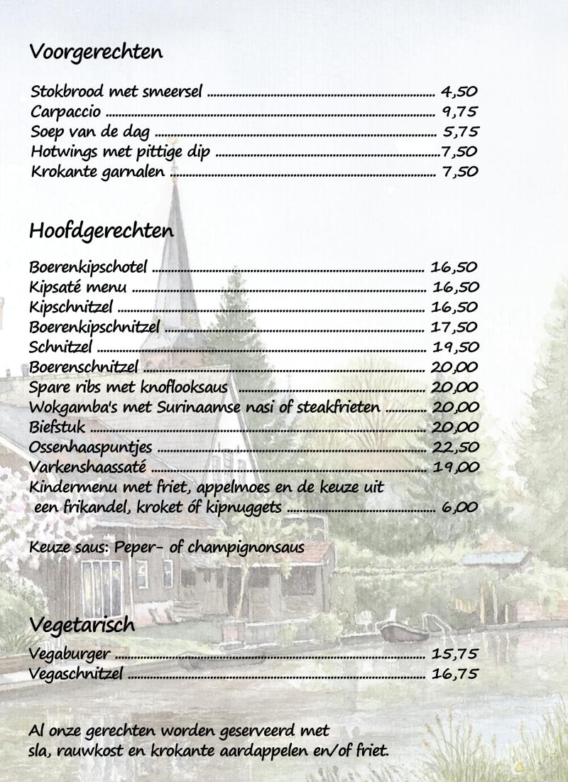 Lunchkaart Het Molentje Diner